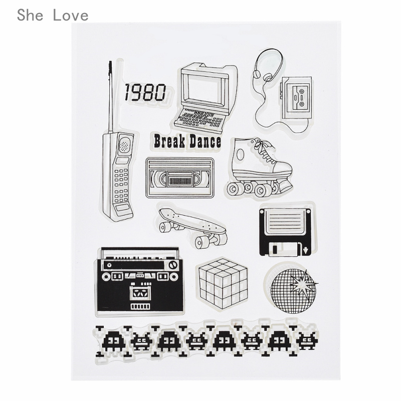 She Love Radio Silicone Clear Stamp For Scrapbooking DIY Album Cards Making Decoration Transparent Rubber Stamp lovely animals and ballon design transparent clear silicone stamp for diy scrapbooking photo album clear stamp cl 278