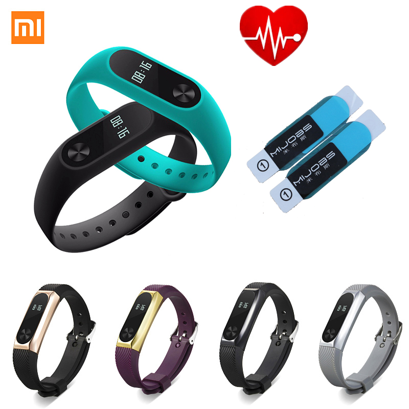 Xiao mi mi banda 2 pulseira xiao mi band2 banda inteligente freqüência cardíaca pulseira de fitness oled ip67 à prova dip67 água metal starps