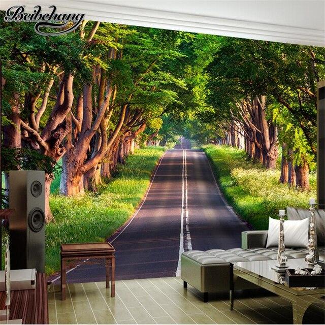 Beibehang Large Wallpaper Mural Custom Any Size Three: Beibehang Custom Wallpaper 3d Park Forest Road Backdrop