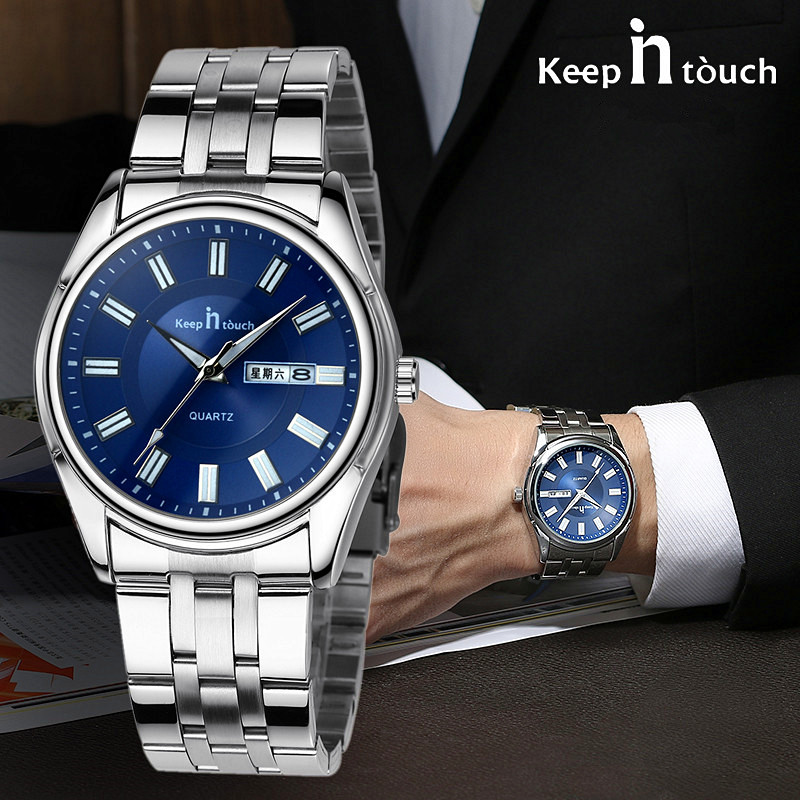Luxury Brand Men Business Quartz Watch Relojes Hombre Week Display Stainless Steel Watch Montre Waterproof Men Male Clock men s quartz relogio masculinos dial glass time men clock leather business round case hour watch relojes hombre levert dropship