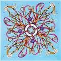 100 cm * 100 cm Sarga de Seda Euro Marca Francesa diseño Borlas Cuerda y cadena de Metal muestra Patrón Mujeres Square Tamaño Bufanda Chal Grande 6105