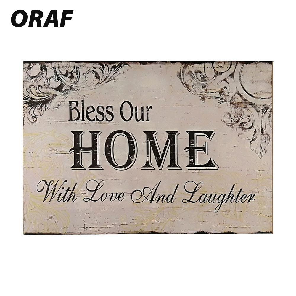 Красивое дерево знак налет деревянной стене висит Wood Poster стены с любовью и смех Благослови Наш дом деревянный Coffeeshop бар