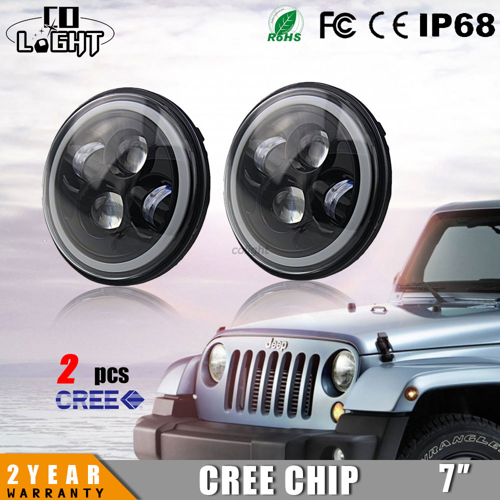 CO LIGHT REPLACEMENT LED HEADLIGHTS 7 INCH ROUND 40W HI LO BEAM 6000K DIY AUTO CAR