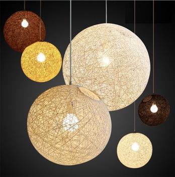 WhiteBlackGreenBeige Wicker Ball Pendant Light Cotton Wire Suspension Luminaire Lighting Lamp Fixture D2030405060CM リビング シャンデリア