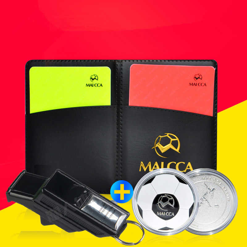 MAICCA Referee Equipment Soccer Referee Yellow Red Card Whistle Soccer Pencil Notebook Football Champion Pick Edge Finder Coin