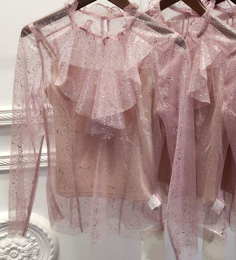 2017 Luxury Brand Women Bling Lace Blouses And Femme Pink Top Shirts