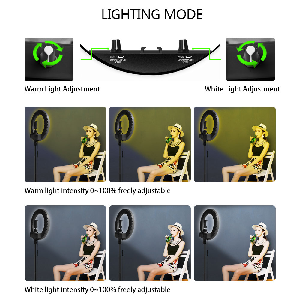 Image 4 - Dimmable Selfie LED Ring Light 14 Photography Ring Lamp with Tripod 1.6M for Beauty Makeup Photo Studio lighting Live Stream-in Photographic Lighting from Consumer Electronics