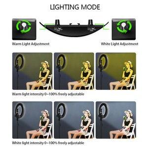 Image 4 - عكس الضوء Selfie LED مصباح مصمم على شكل حلقة 14 التصوير الدائري مصباح مع ترايبود 1.6 متر ل ماكياج الجمال استوديو الصور الإضاءة تيار مباشر