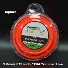 2.0mm 0.08″X 15m Length Square Orange Color Brush Cutter Gass Trimmer Nylon Line Wire