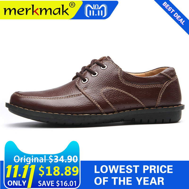 Merkmak New Fashion Men Casual Leather Shoes Genuine Leather Men