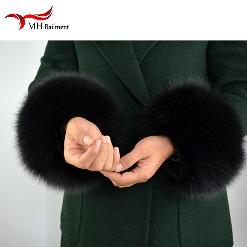 Manchettes en fourrure de renard 2019 véritable manchette en fourrure de renard bras plus chaud dame Bracelet en vraie fourrure Bracelet gant S9 - 2