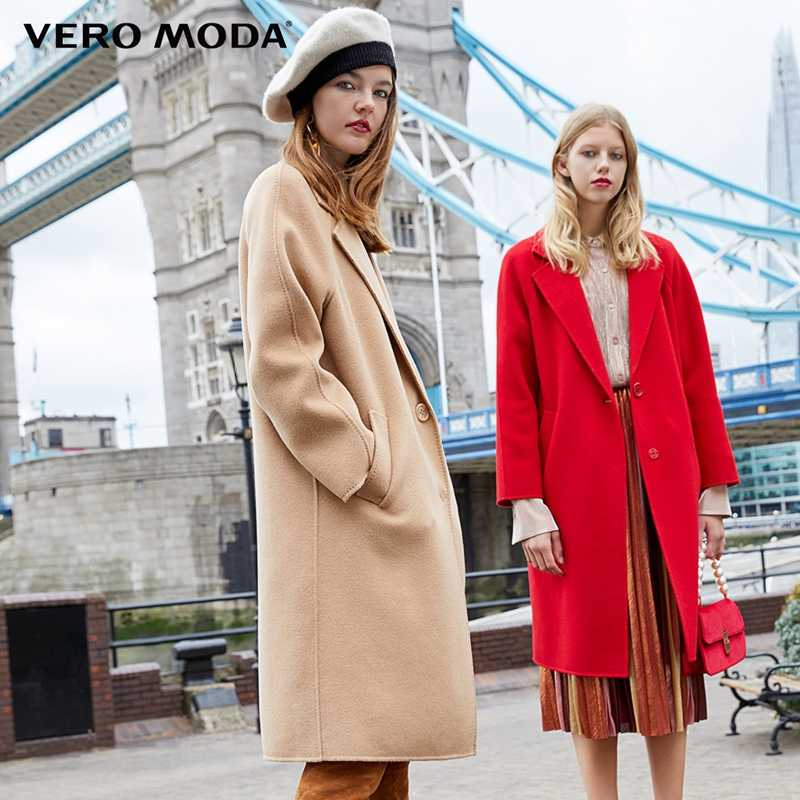 Vero Moda Women's new 100% wool double-sided single buckle minimalist woolen overcoat | 318327505