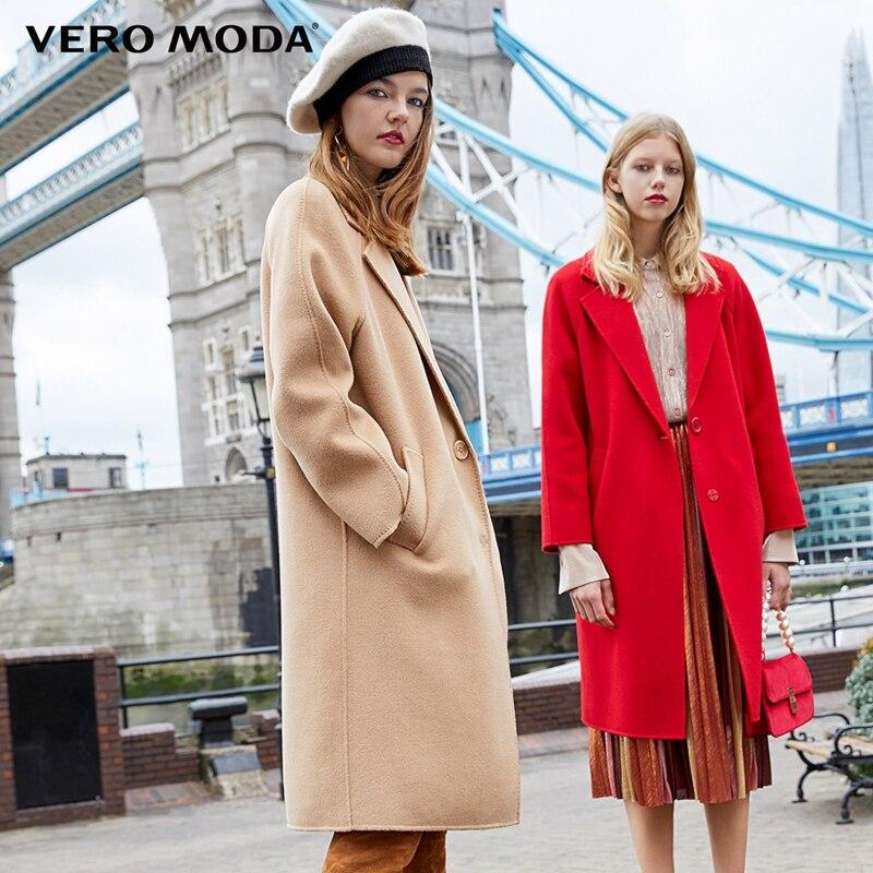 Vero Moda Women's New 100% Wool Double-sided Single Buckle Minimalist Woolen Overcoat   318327505