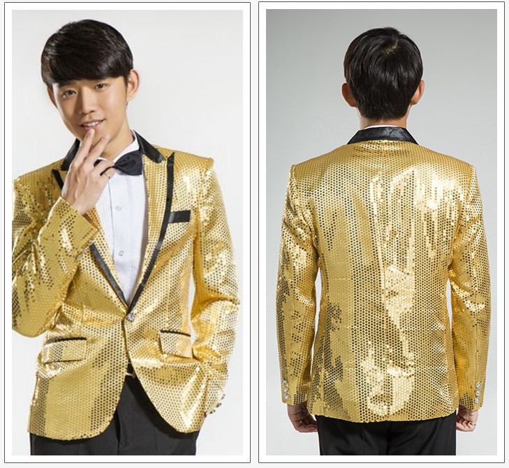 2016 New Stage Clothing Wedding Cloth Men Sequined Suits Costume Homme Slim Fit Tuxedo Fashion Male Business Prom Tops Plus 6XL