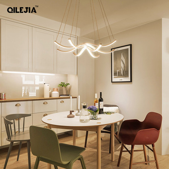 LED Pendant Lights For Kitchen White/ Coffee color Aluminum Silica Suspension Hanging Cord Lamp Dinning Room Lamparas New Fixtur