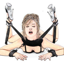 Prono Babydoll Sexy Teddy Lingerie with Handcuffs&Neck Pillow&Ankle Cuff Kit for Open Leg to Role Play Slave BDSM Bondage