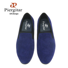 new arrival fashion british style Handmade blue color Velvet shoes men's smoking slippers banquet male plus size loafers