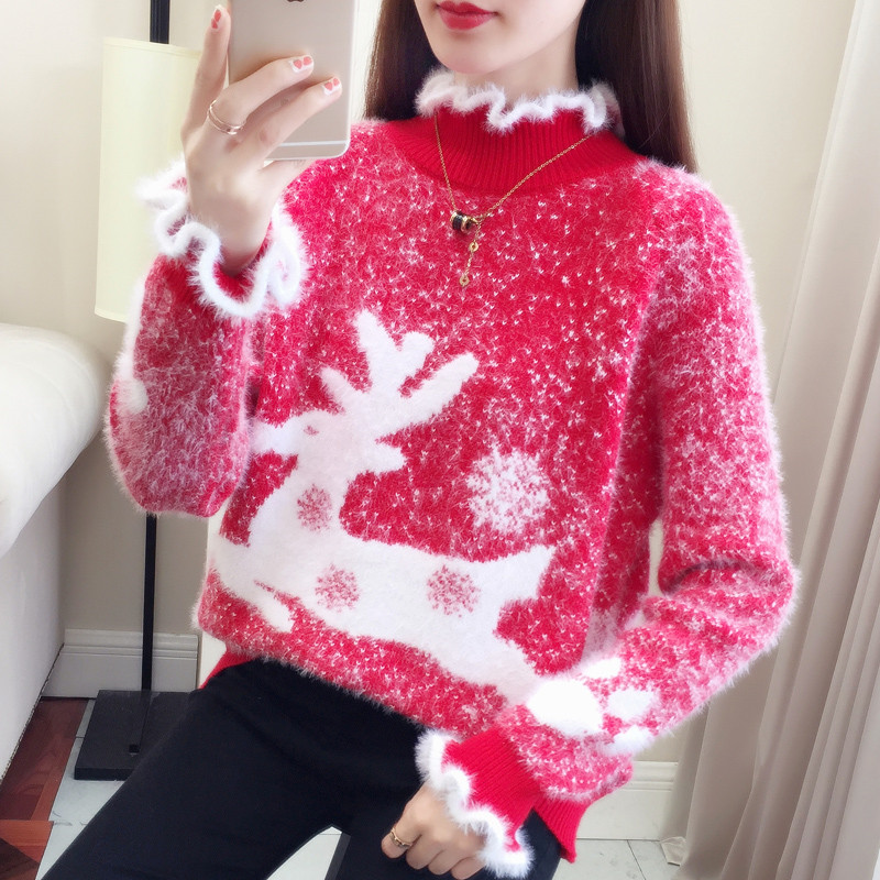 Girls Sweaters Merry Christmas Sweater Red Women Jumper Pullover knitted  Plush collar Mohair Pink Elk Pattern Velvet Fashion|Pullovers| - AliExpress