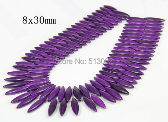 15.5 inches strand of Smooth Horse Eye Purple Howlite Beads, Loose Tur quoise Beads Jewelry, Craft Suppplies