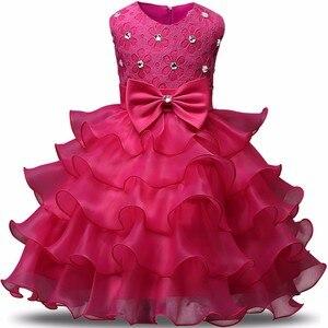Одежда для девочек 2018, детское платье с цветочным принтом, многослойное детское платье для свадьбы, банкета, От 1 до 2 лет, дня рождения, плать...
