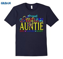 GILDAN Proud Autism Auntie Love Support Accept - Autism Gifts Tees Funny black men tee shirt cotton free shipping(China)
