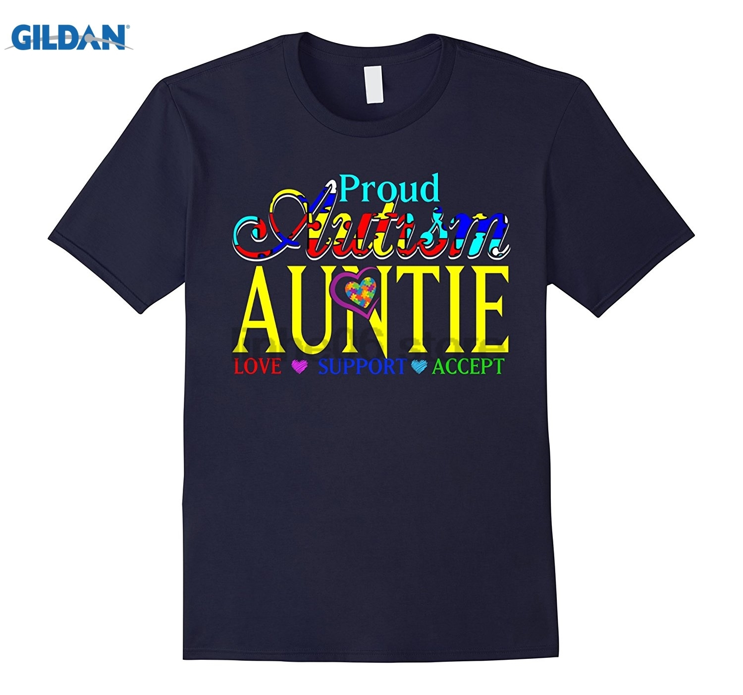 GILDAN Proud Autism Auntie Love Support Accept - Autism Gifts Tees Funny black men tee shirt cotton free shipping
