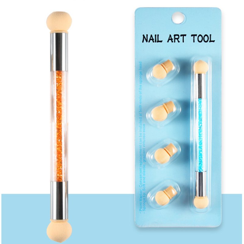 DIY Double End Nail Art Gradient Brush Pen Set With 4 Replace Sponge Heads Painting Dotting Tips Rhinestone Handle Manicure Tool in Dotting Tools from Beauty Health