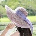 Женская Лето Широкими Полями Флоппи Бантом Шляпа Леди Путешествия Шляпа Солнца