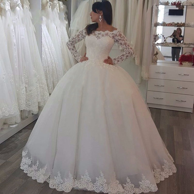 White 2019 Princess Wedding Dresses Long Sleeves Lace Applique Sweep Train Wedding Gowns Custom Made Bridal Dress