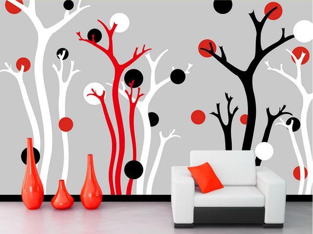 Slaapkamer Rood Zwart : Custom papel de parede rood zwart boom abstracte moderne behang