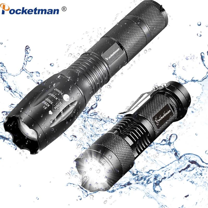 Promotion Set! Tactical LED Flashlight XML-T6 Tactical Flashlight + Q5 Mini Torch Lanterna Zoomable Waterproof Flashlight Bike