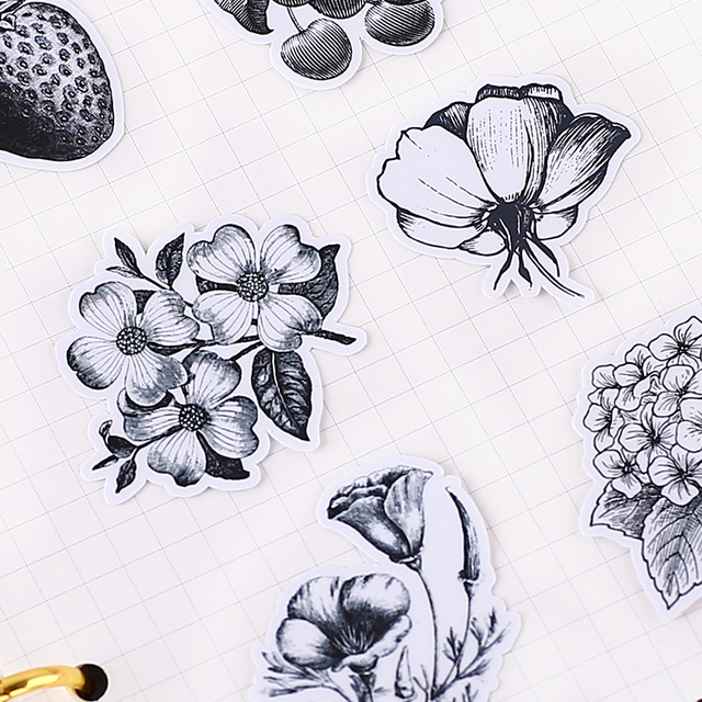 24pcs creative cute self made black and white flowers scrapbooking stickers decorative sticker