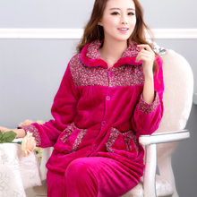 Winter coral fleece sleepwear female rustic floral print cloth thickening flannel plus size lounge set