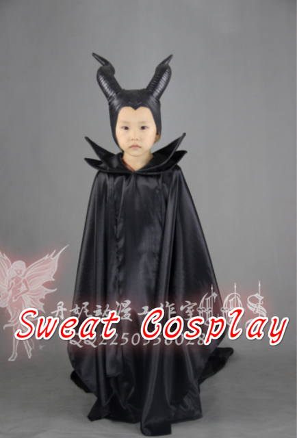 2016 girls maleficent dress costumes for kids maleficent cloak carnival costumes for children