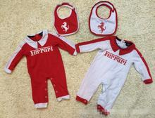 2 Color Baby Long sleeve Romper Baby infant horse letters printing lapel jumpsuits + bib Set wholesale