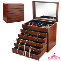 New Extra Large Wooden Jewellery Box Brown Vintage Armoire Luxury Cabinet Earring Jewellery Storage Organizer 5 Drawers Mirror