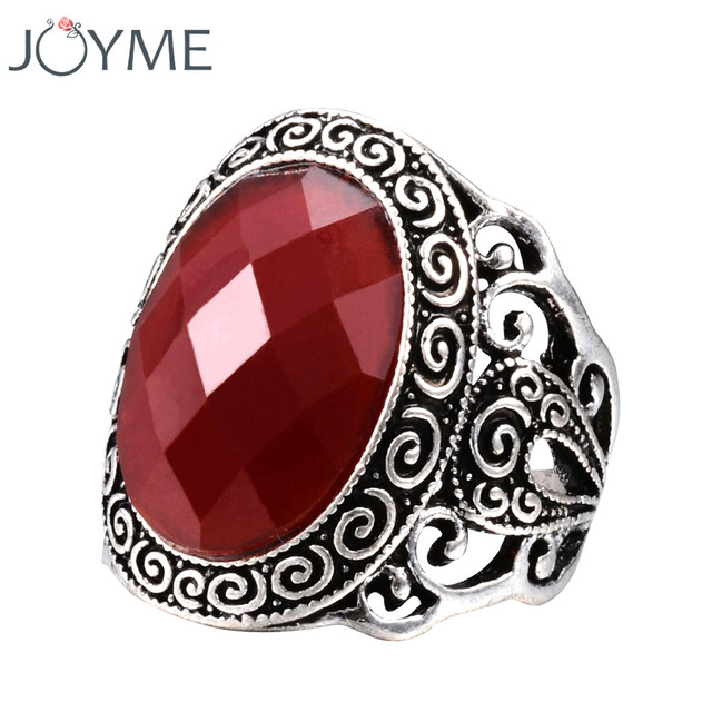 Vintage Look Tibetan Alloy Antique Silver Plated Wedding Rings For Women Red Resin Black Male