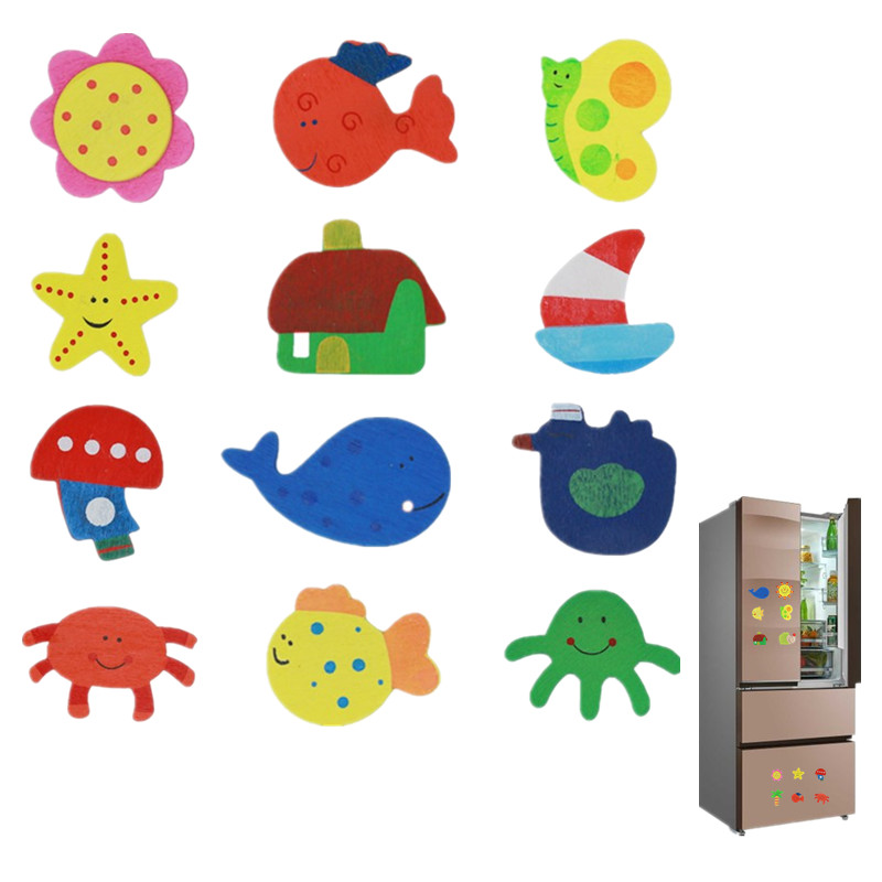 12pcs/lot Wooden Refrigerator Magnet Fridge Stickers Animal Cartoon ...