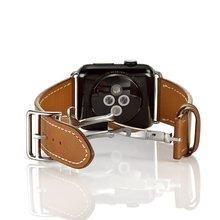 Купить с кэшбэком Genuine Leather Loop For Apple Watch 44mm 40mm Band Double Tour 42mm iwatch series 5 4 3 2 Replacement strap 38mm bracelet women