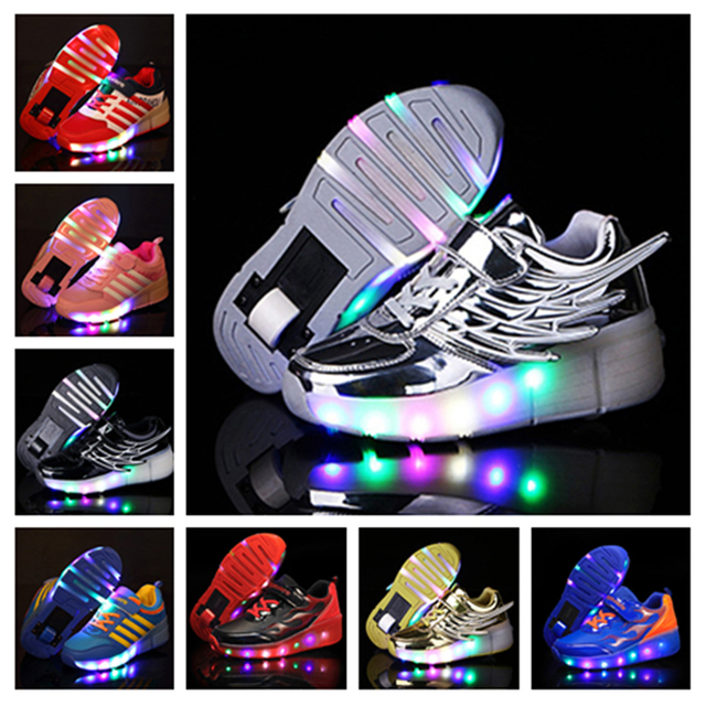 dc8106168008 Fashion Winged Led Shoes Kids Glowing Sneakers Striped With Lights Casual  Single Walking Wheels Children Girls Boys Light Up