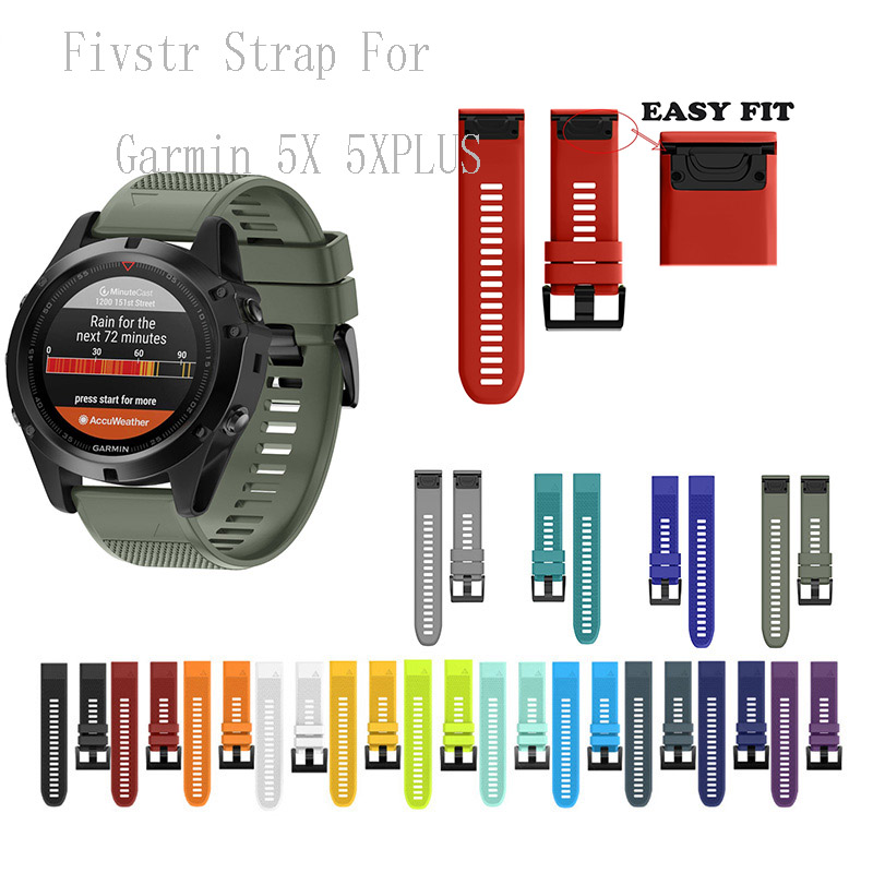 Fivstr NEW Silicone 26mm 22mm Quick Release Watchband Wriststrap For Garmin Fenix 5X 5 Plus S60 Watch Easyfit Watch Wrist Band