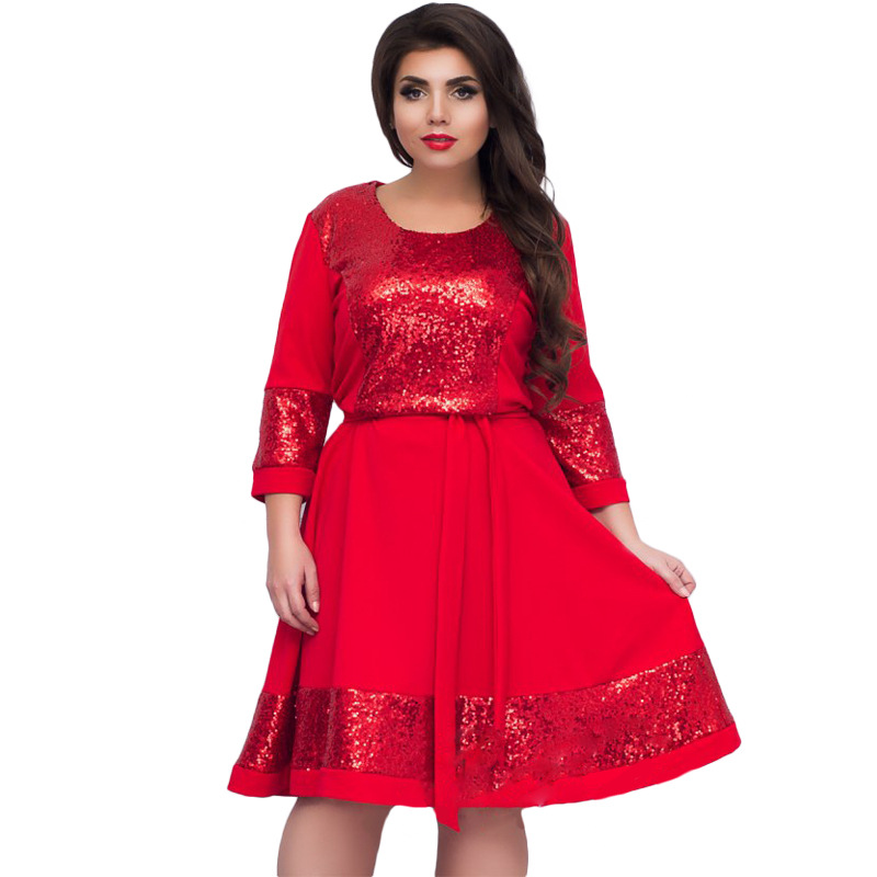 US $31.38 |fashionable elegant women Sequins dresses big sizes NEW 2018  plus size women clothing L 6xl dress casual o neck dress-in Dresses from ...