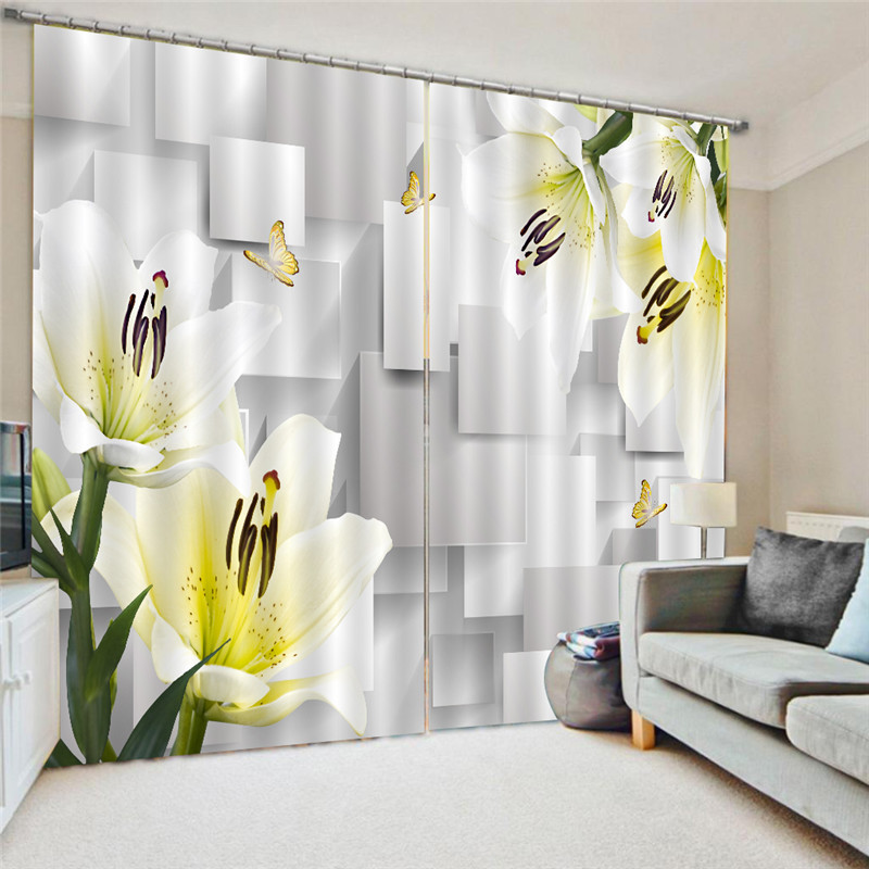 3D Curtain Flower Printing Blockout Polyester Photo Drapes Fabric Window Modern Decoration Printing For Living Room Oct25
