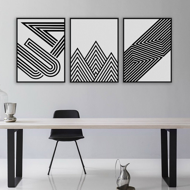 Black white modern minimalist geometric shape art prints poster abstract wall picture canvas painting living room