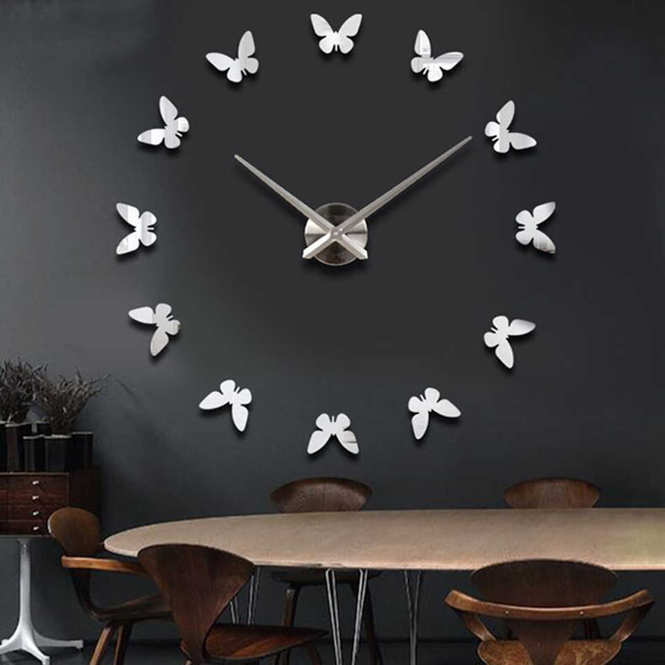 muhsein 2019 hot personality modern creative 3d acrylic mirror diy butterfly pattern home decoration wall stickers clock