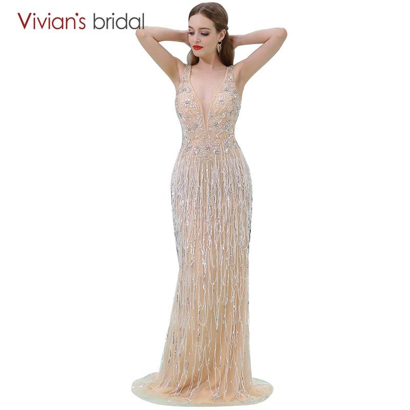 Sequin Sirène Robe De Soirée Longue Col V Sans Manches Robe De Bal Nuptiale De Soirée Robe de Vivian