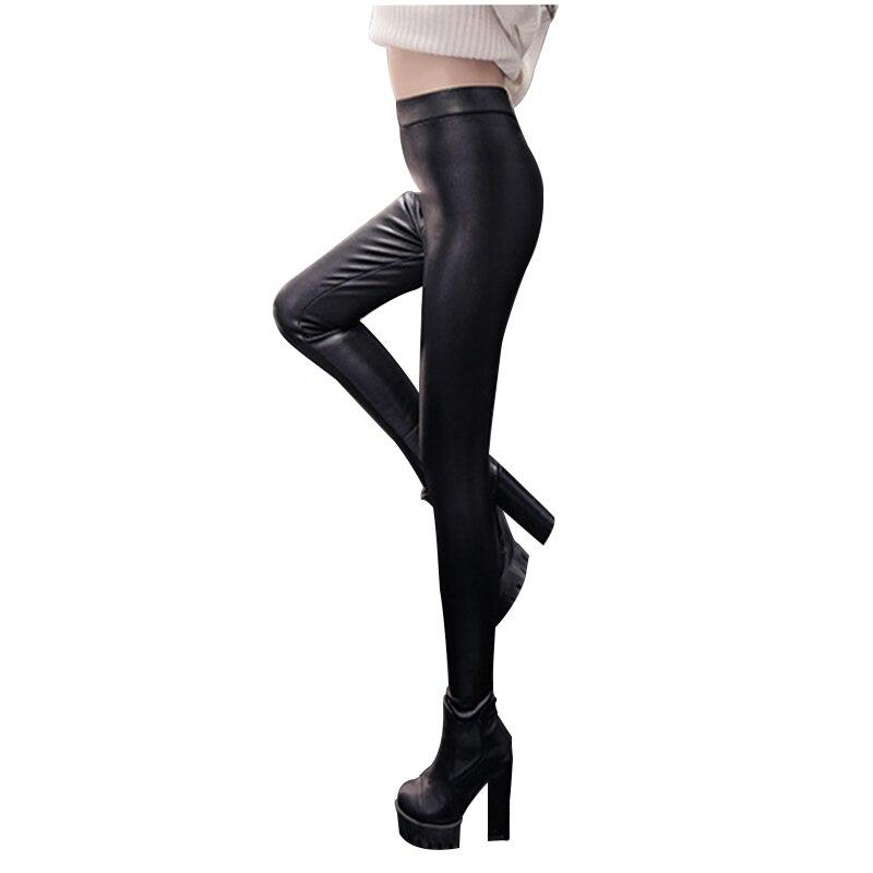 Spring Autumn leggings High waist plus size winter leggings women imitation leather women black color thin pants femme 7MZ109