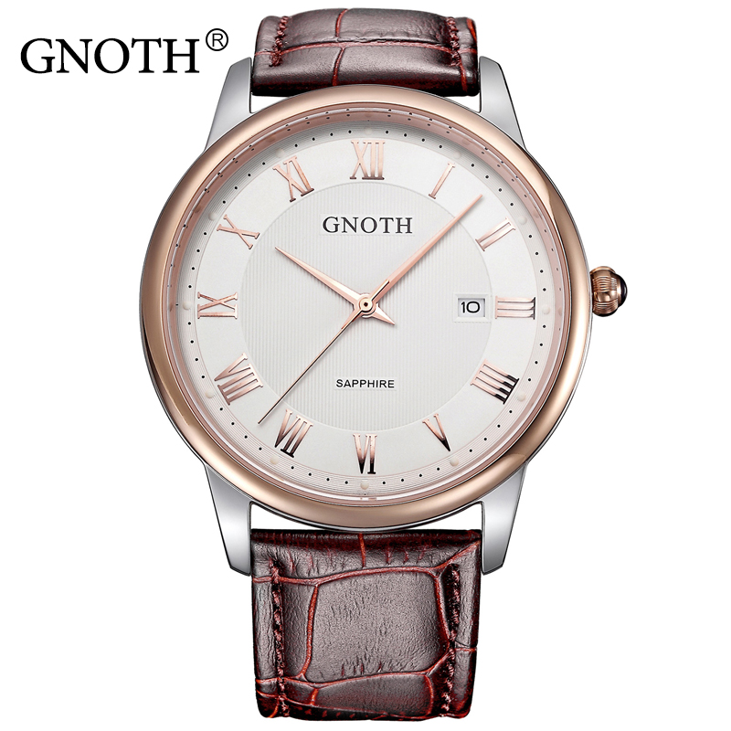 GNOTH Top Fashion Brand Women Watch Laddy Female Hour Date Waterproof 30m Quartz Wristwatch Roman Numerals Genuine Leather Clock gnoth top brand men watch leather quartz analog hour fashion sapphire clock male waterproof wristwatch hot sale 2017 new arrival