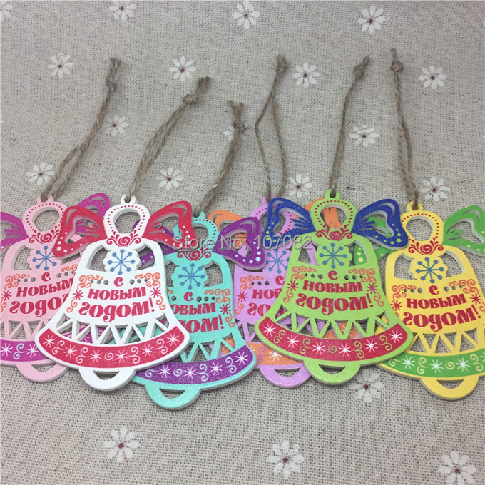 50pcs 50x69mm Multi Jingle Bell Wood Tags With Jute Cord Charms For Christmas Tree Decorations Rustic Wooden Crafts Toppers