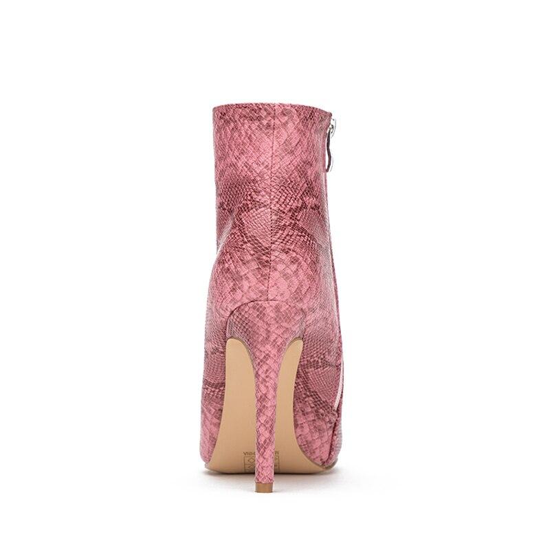 Otoño De Cuero Bootie Zapatos Pu La Estampado Black Toe Tacón Tacones Mujeres Invierno Tamaño Señaló Alto Aiykazysdl Serpiente Botas Cremallera pink Plus 6pwq44